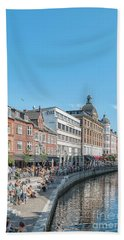 Hand Towel featuring the photograph Aarhus Summertime Canal Scene by Antony McAulay