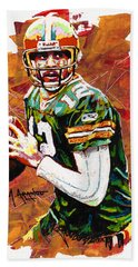 Aaron Rodgers Bath Towel by Maria Arango