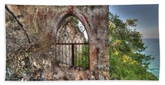Abandoned Places Iron Gate Over The Sea - Cancellata Sul Mare Hand Towel