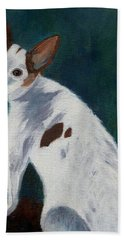 Hand Towel featuring the painting Abby by Jamie Frier