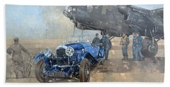 Able Mable And The Blue Lagonda  Hand Towel by Peter Miller