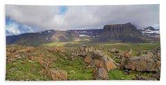 above the westfjords of Iceland 2 Bath Towel
