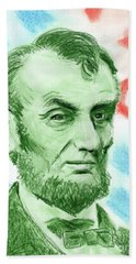 Bath Towel featuring the drawing Abraham Lincoln  by Yoshiko Mishina