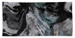 Hand Towel featuring the painting Abstract And Minimalist Acryling Painting In Gray Color by Ayse Deniz