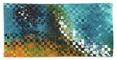 Bath Towel featuring the painting Abstract Art - Pieces 9 - Sharon Cummings by Sharon Cummings