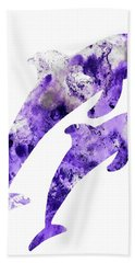 Hand Towel featuring the painting Abstract Art Purple Dolphins by Saribelle Rodriguez