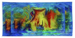 Hand Towel featuring the painting Abstract Artgo With The Flow by Sherri Of Palm Springs