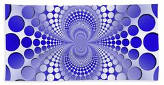 Abstract Blue And White Pattern Bath Sheet by Vladimir Sergeev