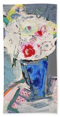 Abstract Blue Vase Of White Bouquet Of Flowers Bath Towel