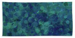 Hand Towel featuring the mixed media Abstract Blues 1 by Clare Bambers
