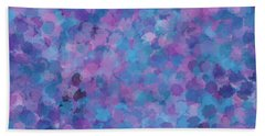 Bath Towel featuring the mixed media Abstract Blues Pinks Purples 3 by Clare Bambers