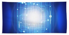 Abstract Circuit Board Lighting Effect  Bath Towel