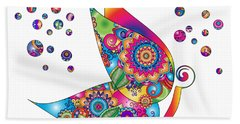 Abstract Colorful Butterfly Hand Towel by Serena King