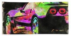 Abstract Corvette Watercolor Bath Towel