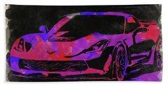 Abstract Corvette Watercolor X Bath Towel