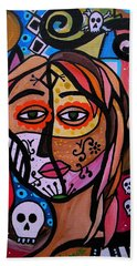 Hand Towel featuring the painting Abstract Day Of The Dead by Pristine Cartera Turkus