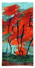 Abstract Design Red Trees Fall Art Hand Towel by R Kyllo