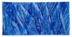 Abstract Encaustic Blues Hand Towel