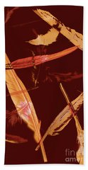 Abstract Feathers Falling On Brown Background Bath Towel