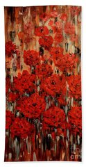 Hand Towel featuring the painting Abstract Flowers by Greg Moores