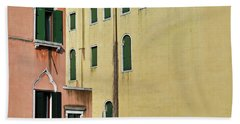 Bath Towel featuring the photograph Abstract Geometric Venetian Buildings In Yellow And Peach by Brooke T Ryan