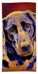 Abstract Golden Labrador Retriever Painting Bath Towel