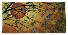 Abstract Golden Landscape Art Original Painting Peaceful Awakening I Diptych Set By Megan Duncanson Hand Towel