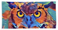 Abstract Great Horned Owl Bath Towel