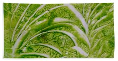 Abstract Green And White Leaves And Grass Hand Towel