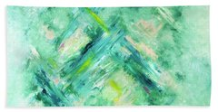 Bath Towel featuring the painting Abstract Green Blue by Cindy Lee Longhini