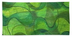 Abstract Green Wave Connection Bath Towel