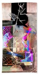Abstract Guitar In Pink Bath Towel