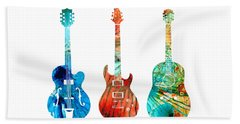 Abstract Guitars By Sharon Cummings Hand Towel