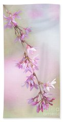 Abstract Higan Chery Blossom Branch Bath Towel