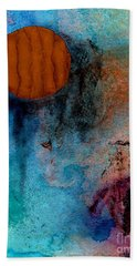 Abstract In Blue And Brown Bath Towel by Desiree Paquette