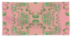 Hand Towel featuring the digital art Abstract In Pink And Green by Linda Phelps