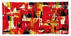 Abstract In Red, White And Yellow  Hand Towel