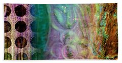Abstract In Teal And Plum Bath Towel by Desiree Paquette