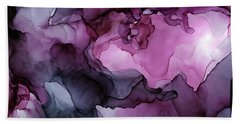 Abstract Ink Painting Plum Pink Ethereal Bath Towel