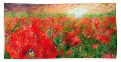 Abstract Landscape Of Red Poppies Bath Towel