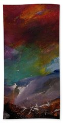 Abstract Landscape Red Bold Color Vertical Painting Bath Towel by Gray Artus