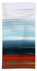 Bath Towel featuring the painting Abstract Landscape - Ruby Lake - Sharon Cummings by Sharon Cummings
