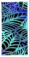 Abstract Leaves Black Aqua Hand Towel