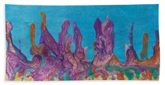 Abstract Mirage Cityscape In Blue Bath Towel