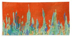 Abstract Mirage Cityscape In Orange Bath Towel