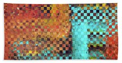 Bath Towel featuring the painting Abstract Modern Art - Pieces 1 - Sharon Cummings by Sharon Cummings