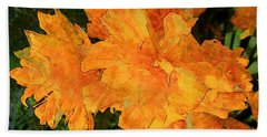 Abstract Motif By Yellow Daffodils Bath Towel