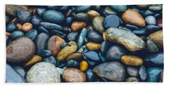Hand Towel featuring the photograph Abstract Nature Tropical Beach Pebbles 923 Blue by Ricardos Creations