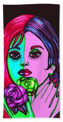 Abstract Neon Rose Fairy Hand Towel
