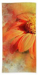 Abstract Orange Flower Hand Towel by Judi Saunders